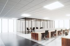 Modern light open space office with conference room
